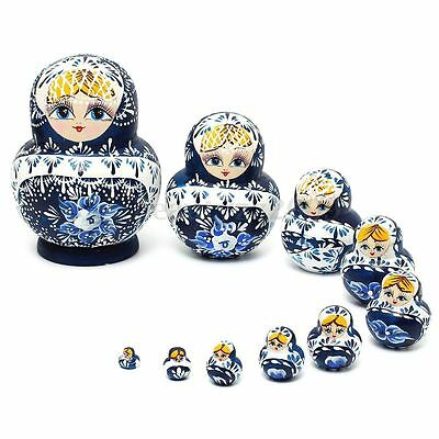 Russian Nesting Dolls 10pcs Set Blue Hand Painted Tiny Matryoshka Babushka New
