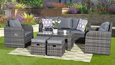 Lotus Rattan Garden Furniture Set Sofa Dining Table Chairs Conservatory Outdoor