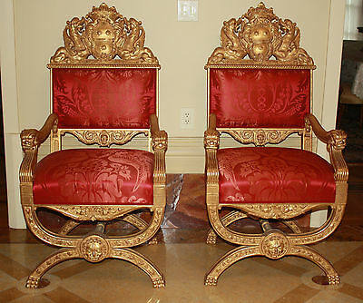 Magnificent 19C Pair Of Gold Leaf Hand Carved European Royal Arm Chairs