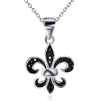 """925 Sterling Silver French Flower Fleur De Lis Lys Lily Cross Gothic Necklace18"""""""