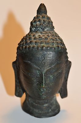 Antique Miniature 3 Inch Buddha Head Bronze Statue Hollow