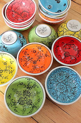Turkish ceramic bowls (8cm) handmade - handpainted, food safe - COLOURFUL
