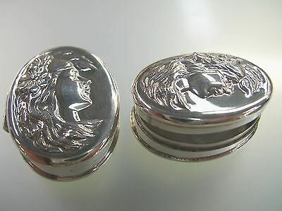 Sterling Silver oval pill box lady face long hair with flower in vintage style