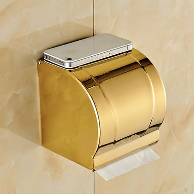 Gold Polished Brass Bathroom Toilet Paper Holder Wall Mounted Tissue Box