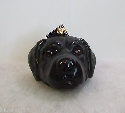 Slavic Treasures Ornament 2008 Black Lab Head Hand Blown Glass Poland NIB (S2)