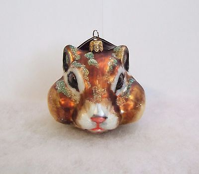 Slavic Treasures Ornament 2008 Chipmunk Head Hand Blown Glass Poland NIB (S14)