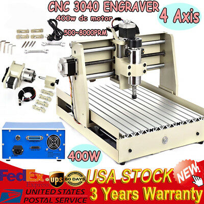 4 Axis CNC Router Engraver 3040 400W PCB Engraving Carving Machine 3D Artwork