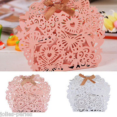 12PCs Foldable Paper Cake Package Boxes Heart Butterfly Hollow Bowknot 8x7cm