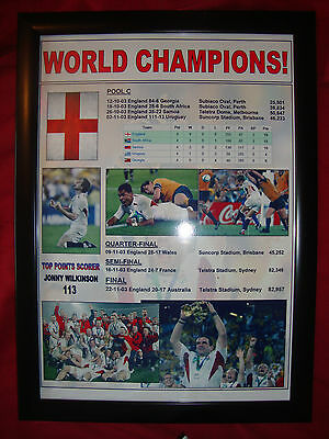 England Rugby Union World Cup winners 2003 - framed print