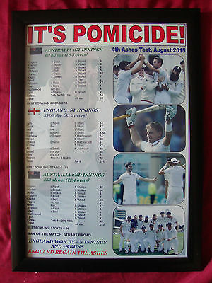 England 4th Ashes Test win 2015 - England win the Ashes - framed print