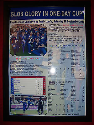 Gloucestershire CCC Royal London One-Day Cup winners 2015 - framed print