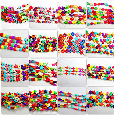 1 Strand Mix Colored Turquoise Gemstone Spacer Loose Beads Charm Findings 15''