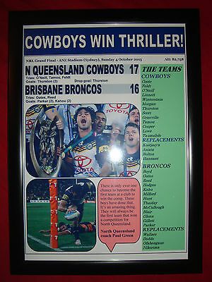 North Queensland Cowboys 17 Broncos 16 - 2015 NRL Grand Final - framed print