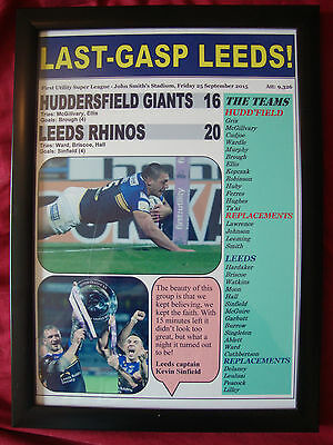 Huddersfield Giants 16 Leeds Rhinos 20 - 2015 Super League - framed print