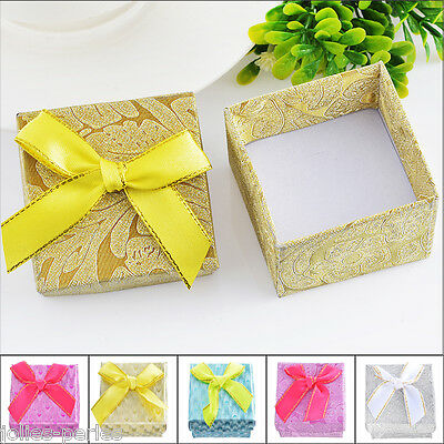 3PCs Paper Square Bowknot Ring Box Jewelry Package Display Gift 5.1x5.1x3.5cm