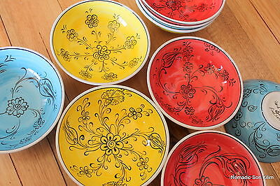 Turkish ceramic bowls (16cm) handmade - handpainted, food safe - COLOURFUL