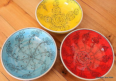 Turkish ceramic bowls (20cm) handmade - handpainted, food safe - COLOURFUL