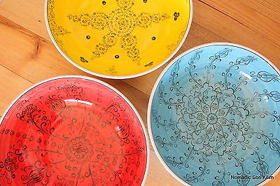 Turkish ceramic bowls (30cm) handmade - handpainted, food safe - COLOURFUL