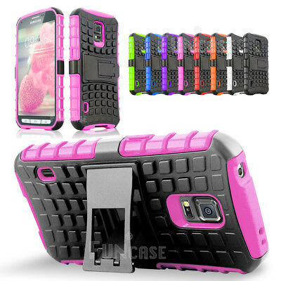For Samsung Galaxy S5 Active Black Defend Rugged Matte Hard Kickstand Case Cover