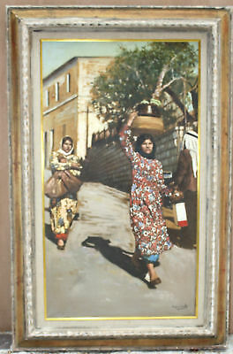 """Magnificent Oil On Canvas Orientalism Painting By G. Grimaldi """"Listed Artist"""