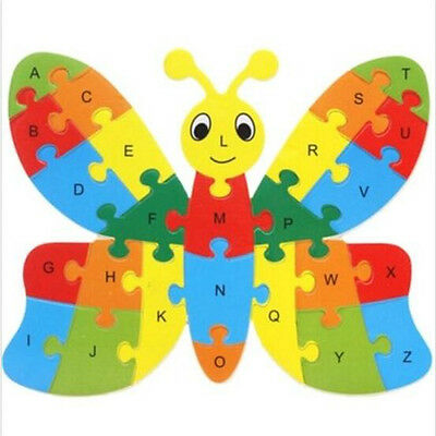 FD3451 Wooden Blocks Kid Child Educational Alphabet Puzzle Jigsaw Toy~Butterfly