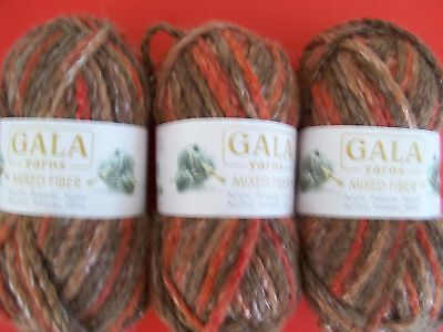 Gala Mixed Fiber fashion yarn, brown/red sheen, lot of 3
