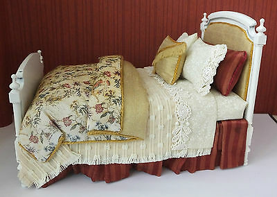 Dolls house miniatures: 1:12 scale toile bed by Lorraine Scuderi