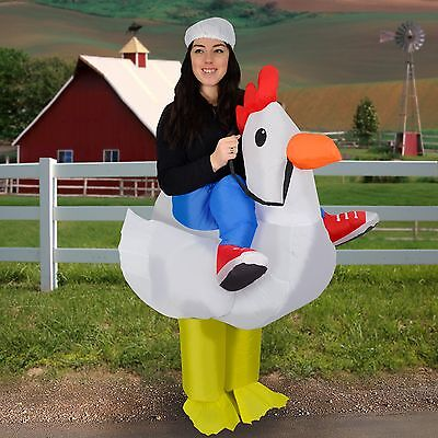 Inflatable Chicken Halloween Fancy Dress Blow Up Party Cosplay Costume