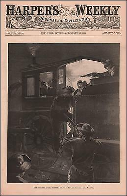 TRAIN ROBBERS by Edward Penfield, antique engraving, original 1892