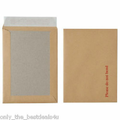 Hard Card Board Back Backed 'Please Do Not Bend' Envelopes Manilla Brown White