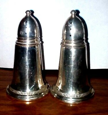 "Vintage  Salt & Pepper Sterling Silver Crown Shaker Set Weighted  3"" Rare Style"