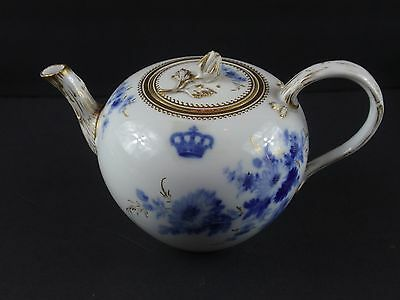 MEISSEN Antique Blue and Gold Floral Teapot with Crown, Crossed Swords