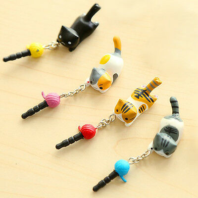 1x Cute Japan Kawaii Cat Cell Phone Straps With 3.5mm Earphone Jack Gray