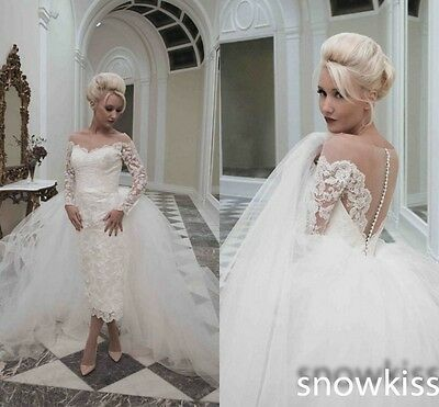 High Low Wedding Dresses With Removable Train Short Illusion Lace Bridal Gowns