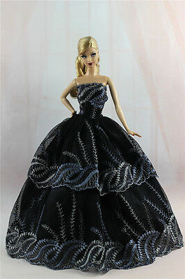 Black Fashion Princess Party Dress/Evening Clothes/Gown For Barbie Doll S328