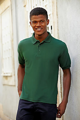 Mens Heavyweight Fruit of the Loom Casual Golf 65/35 Polo Shirt Top SS204