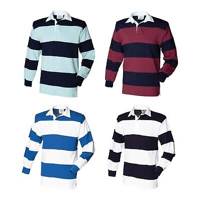 45904c01482 Front Row Sewn Stripe Long Sleeve Rugby Shirt Top Sport Leisure Wear FR08M