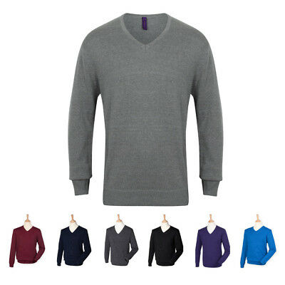 Henbury V-Neck Mens Knitted Plain Smart Jumper 2XS to 4XL 7 Colours