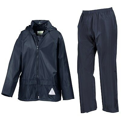 Boys Girls Childrens Result Heavyweight Waterproof Jacket/Trouser Suit Navy Red