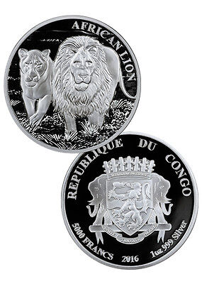2016 Congo 1 Troy Oz .999 Proof Silver African Lion 5000 Francs Coin SKU38782