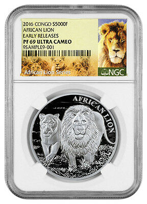 2016 Congo 1 Oz Silver African Lion 5000F NGC PF69 UC ER (Excl Label) SKU38784