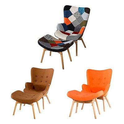 Stylish High Back Lounge Chair with matching Foot Stool Fabric Chair Livingroom