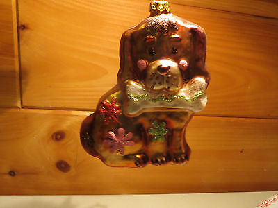 December Home Blown Glass Christmas Tree Ornaments ~ 2 Gold Dogs