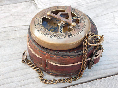 Beautiful Sundial Compass,Leather Case,wedding gift,birthday gift,antique gift