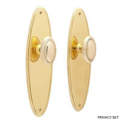 Pascal Beveled Door Plate  & Small Oval Bead Knob Dummy Set  Privacy & Passage