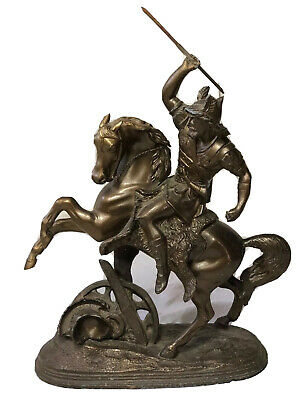 1 Fine Vintage Bronze Spelter Over Resin Norse Hunting Warrior On Horse Statue