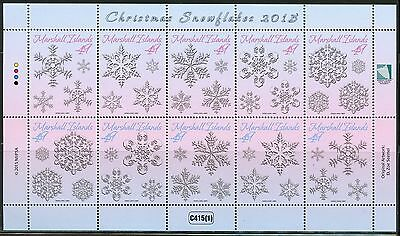 Marshall Islands 2015 Christmas Snowflakes Sheet Of Ten  Mint Never Hinged