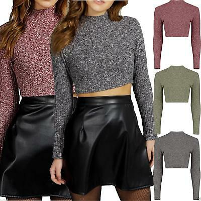 Womens Ladies Ribbed Knitted Turtle Polo Neck Crop Top Long Sleeve Short Plain