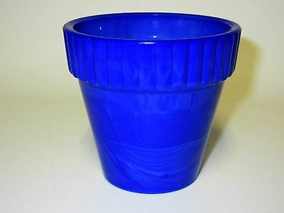 Royal Blue / Cobalt Blue Akro Agate # 290 Mini Pot / Thumb Pot / Ribbed Top Pot