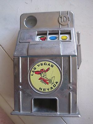 old toy slot machine metal Las Vegas one arm bandit dime bank